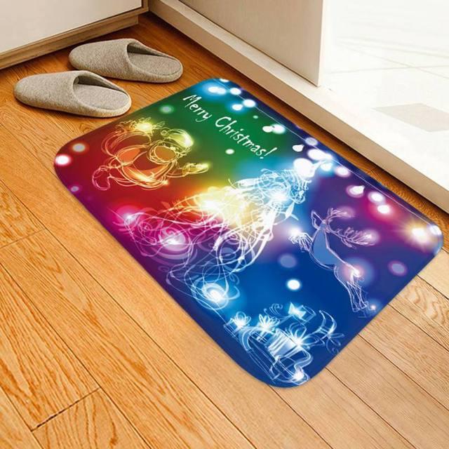 Christmas Mats Home Floor Rugs Flannel Fabric Absorbent Bath Rug Mat Non Slip
