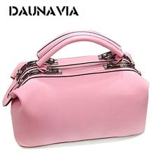 DAUNAVIA Brand Fashion Boston handbags for women famous designer leather messenger bags ladies party shoulder Crossbody bags