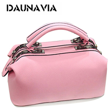 DAUNAVIA Brand Fashion Boston handbags for women famous designer leather messenger bags ladies party shoulder Crossbody bags