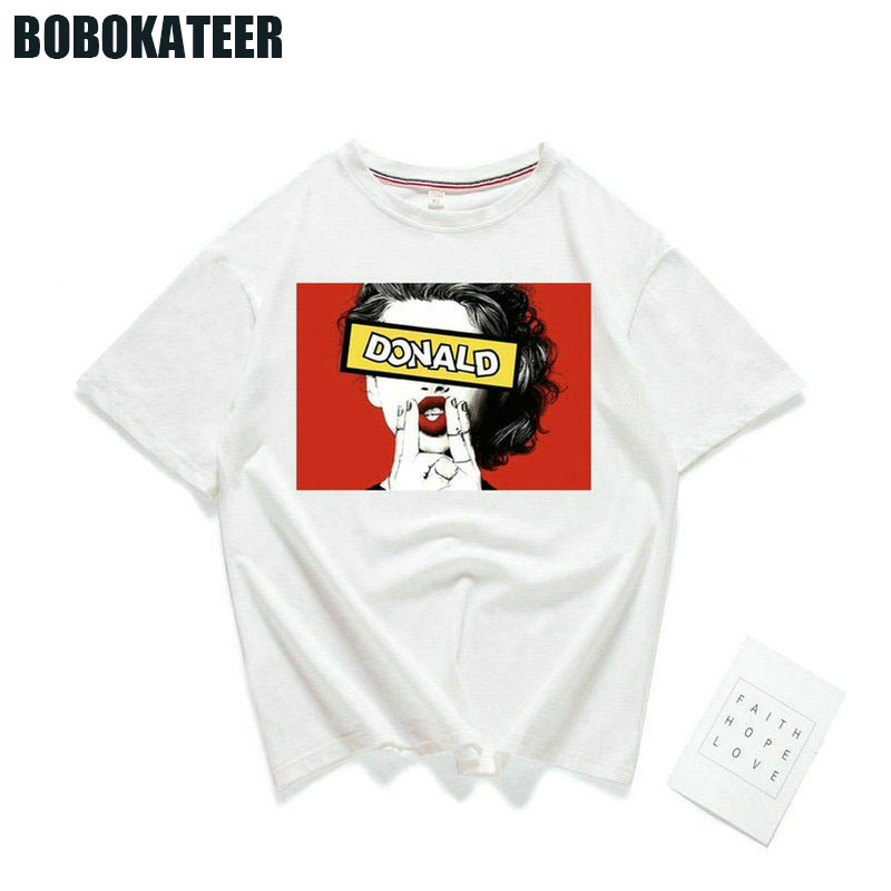 BOBOKATEER Vogue T shirt Women Tshirt Cotton Print Casual White Summer T-Shirt Women Tops Femme Girl Power Camisetas Mujer 2018