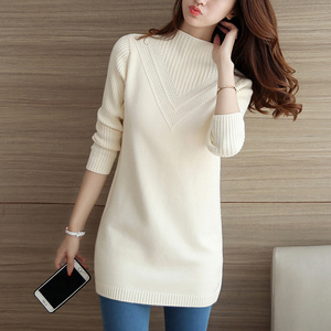 Autumn Winter Women Knitwear Sweater Pullover Fashion Long Sleeve Half Turtleneck Sweater Jumper Female Solid Loose Tops AA887