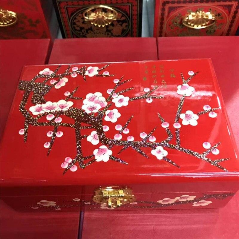 de madeira & Red Plum blossom 2 camadas
