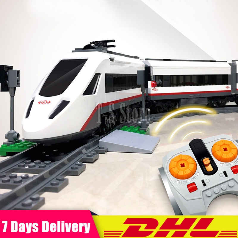 Clone 60051 DHL LEPIN 02010 659 PCS City Series The High-Speed Passenger Train Set Building Block Brick Toy Children Gifts lepin 02010 610pcs city series building blocks rc high speed passenger train education bricks toys for children christmas gifts