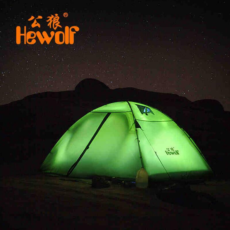 Hewolf Outdoor Camping Tent Travel 2 person Double Layer Aluminum Pole 4 Season Waterproof Tourist Tent fishing hunting tents brand 1 2 person outdoor camping tent ultralight hiking fishing travel double layer couples tent aluminum rod lovers tent