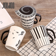 JOUDOO Creative Music Ceramic Cup Stave Note Piano Key Board Shape Handle Coffee Tea Ceramics Mug with Lid Unique Gifts 35