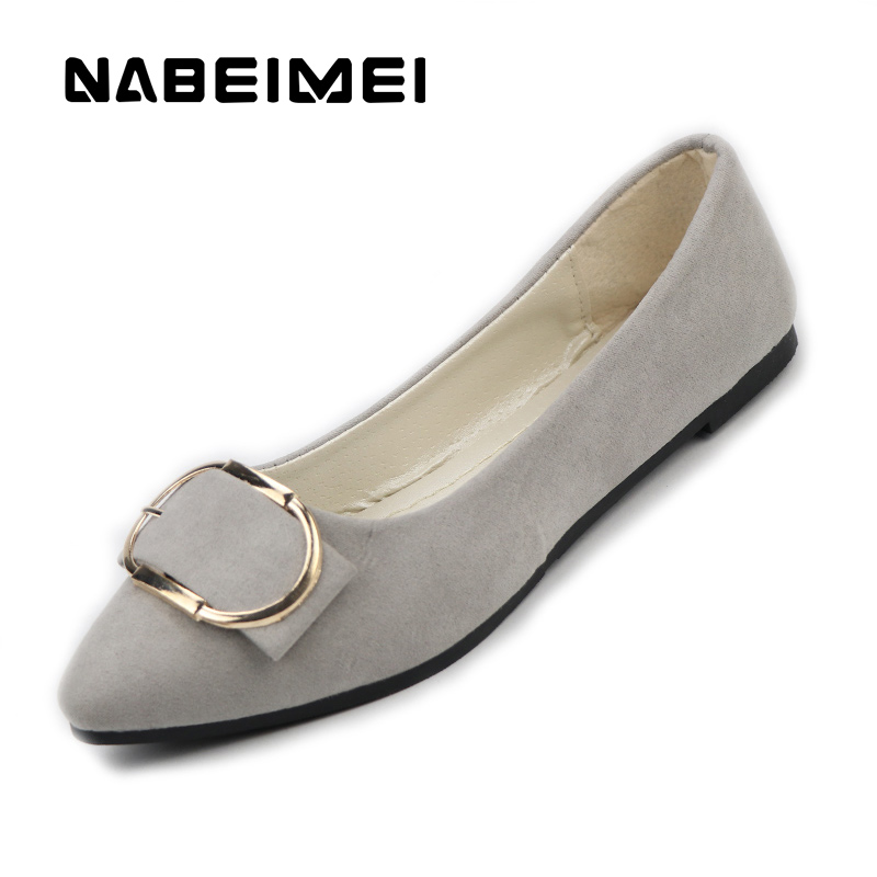 Flats women shoes flock metal decoration solid career boat shoes slip-on pointed toe chaep summer shoes zapatos mujer spring autumn solid metal decoration flats shoes fashion women flock pointed toe buckle strap ballet flats size 35 40 k257