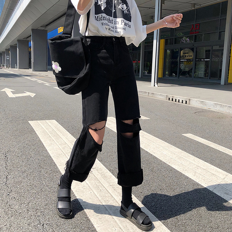S-XL 2019 Autumn Vintage Style Women Black Ripped Denim Pants Casual High Waist Jeans For Women Straight Pants (78207