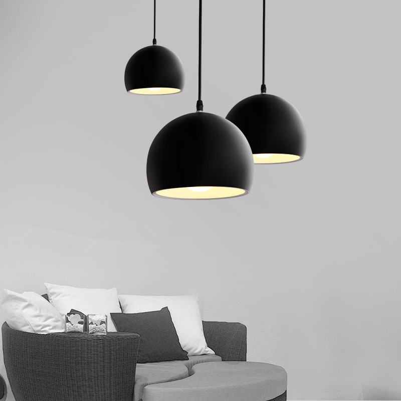 Modern fashion simple E27 LED lamp half-round aluminum chandelier for bar bedroom restaurant hanglamp suspension luminaire
