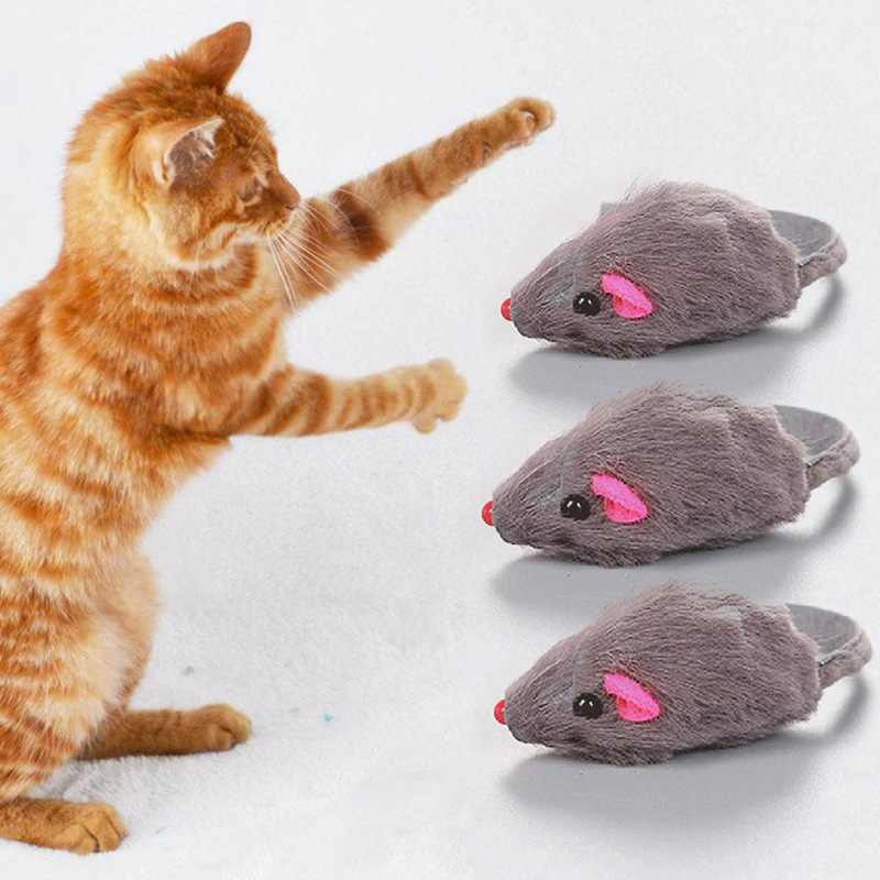 Mini Interactive Rabbit Fur False Mouse Cat Toy Funny Pet Kitten Animal Sound Squeaky Playing Toys Supplies Product Random Color