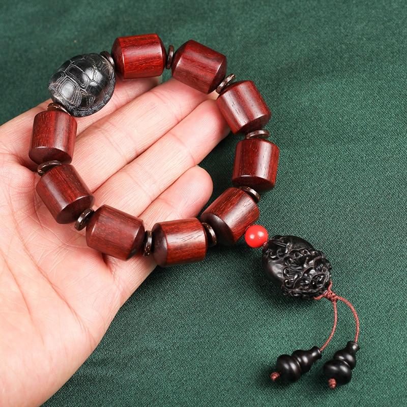 Mr Lou original lobular rojo barril de madera de sándalo cuenta alto aceite antiguo material organizar grano de rosa de Venus círculo único Cordón de cuentas - 3
