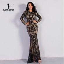 Missord 2018 Сексуальная О образным вырезом с длинным рукавом Ретро блесток макси великолепное платье FT8578-2