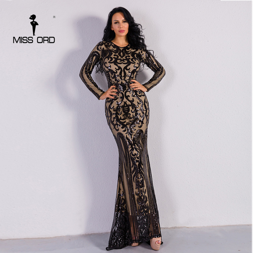 Missord 2019 Sexy O Neck Long Sleeve Retro  Sequin  Maxi  Gorgeous Dress  FT8578-2