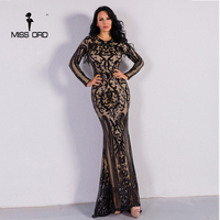 Missord 2019 Sexy O Neck Long Sleeve Retro Sequin Maxi Gorgeous Dress FT8578 2