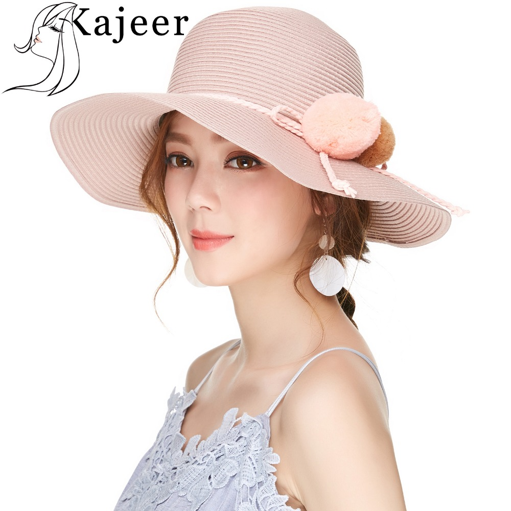 Kajeer Women Summer Cotton Straw Hats New Double Ball Pink Church Hat Women's Large Brim Foldable Holiday Sea Beach Hat Uv Rays