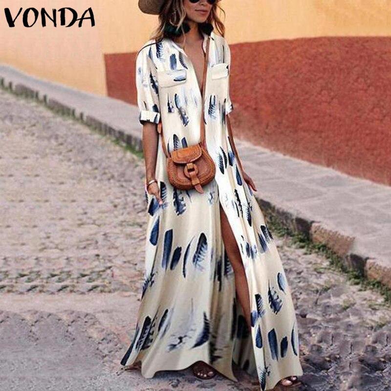 ef40af30cc33a3a VONDA женское Макси платье 2019 осень весна сексуальное v-образный вырез  длинный рукав Сплит до щиколотки печатные платья плюс размер Vestidos