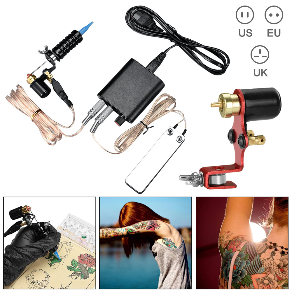 Kit de tatouage de corps professionnel Machines à moteur Set aiguilles d'alimentation fournitures de tatouage Permanent H7JP