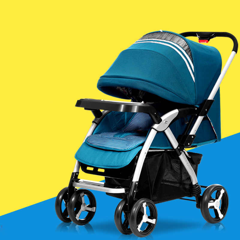 Baby Stroller Can Sit Can Lie High Landscape Shock Baby Carriage Folding Portable 4 Wheel BB Trolley Poussette Pliante Stroller baby stroller ultra light portable can sitting lie baby folded carriage high landscape baby carriage baby bb umbrella stroller