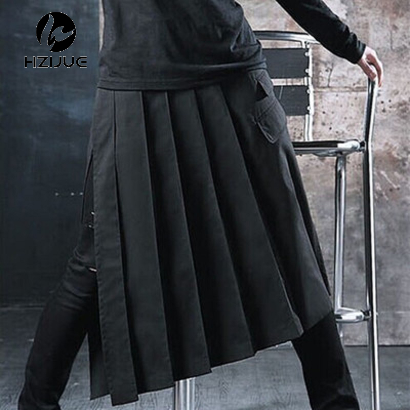 HZIJUE 2018 New Spring Autumn Fashion Casual Loose Men Skirt Pants Wide Leg Pants Men Crotch Pants Bar Nightclub Costumes