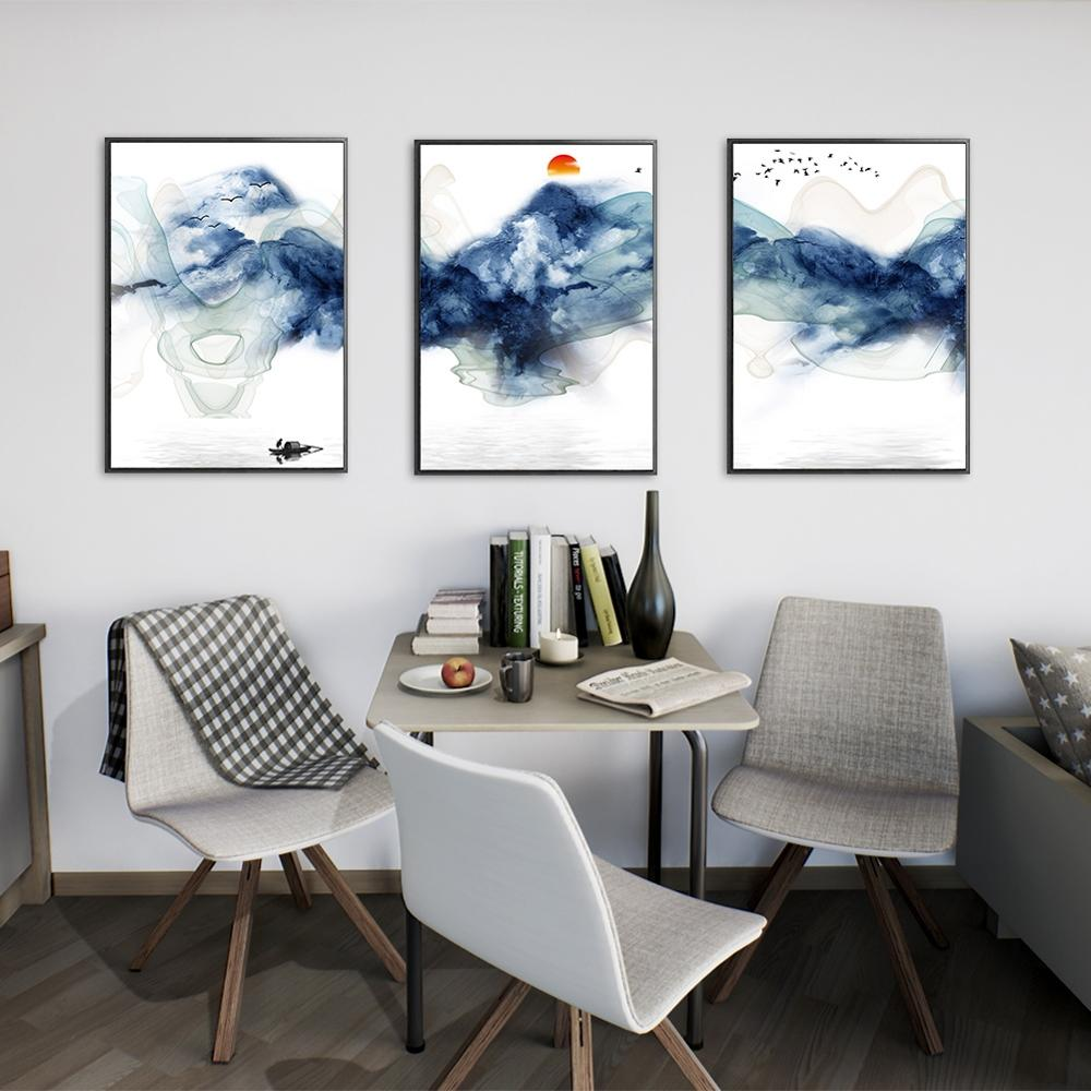 3Pcs Lot Sunsets Mountain Landscape Posters and Prints Canvas Painting Panorama Scandinavian Wall Art Picture for Living Room in Painting Calligraphy from Home Garden