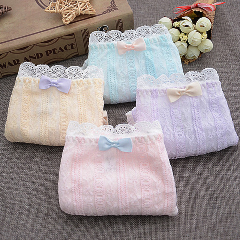 QUECOO 3pcs/lots Cute sexy combination set lace splicing underwear cotton comfortable womens underwear pants