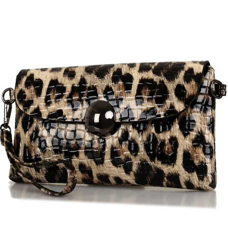 все цены на clutch fashion Leopard day evening clutch bag split leather purse wallet brand chain evening clutch bags ladies shoulder bag