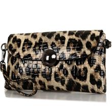 clutch fashion Leopard day evening bag split leather purse wallet brand chain bags ladies shoulder