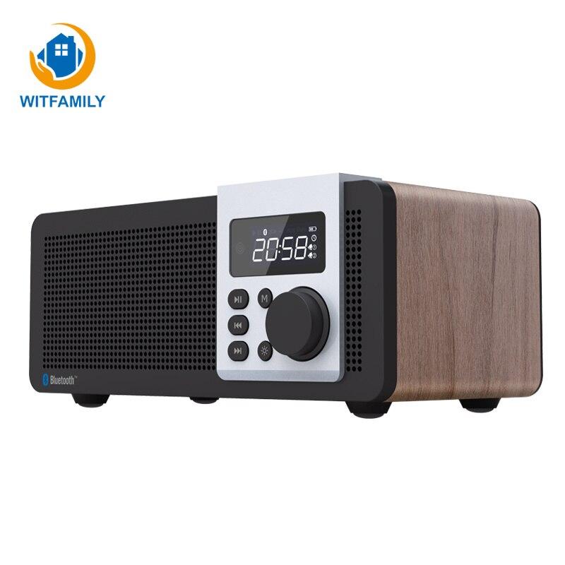 Цифровые деревянные Bluetooth Будильник FM радио LED дисплей Despertador электронный современный сабвуфер часы настольные украшения дома