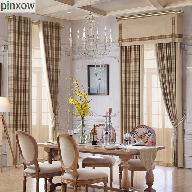 Plaid Curtains For Living Room Khaki Drape For Bedroom Luxury Scotland  Dinning Room Window Panel Imitation Cashmere Blind Custom Part 45
