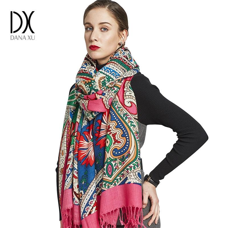 Novo inverno cachecol para as mulheres marca de luxo pashmina cashmere poncho cobertor cachecol envoltório lã lenço feminino bandana muçulmano hijab xale