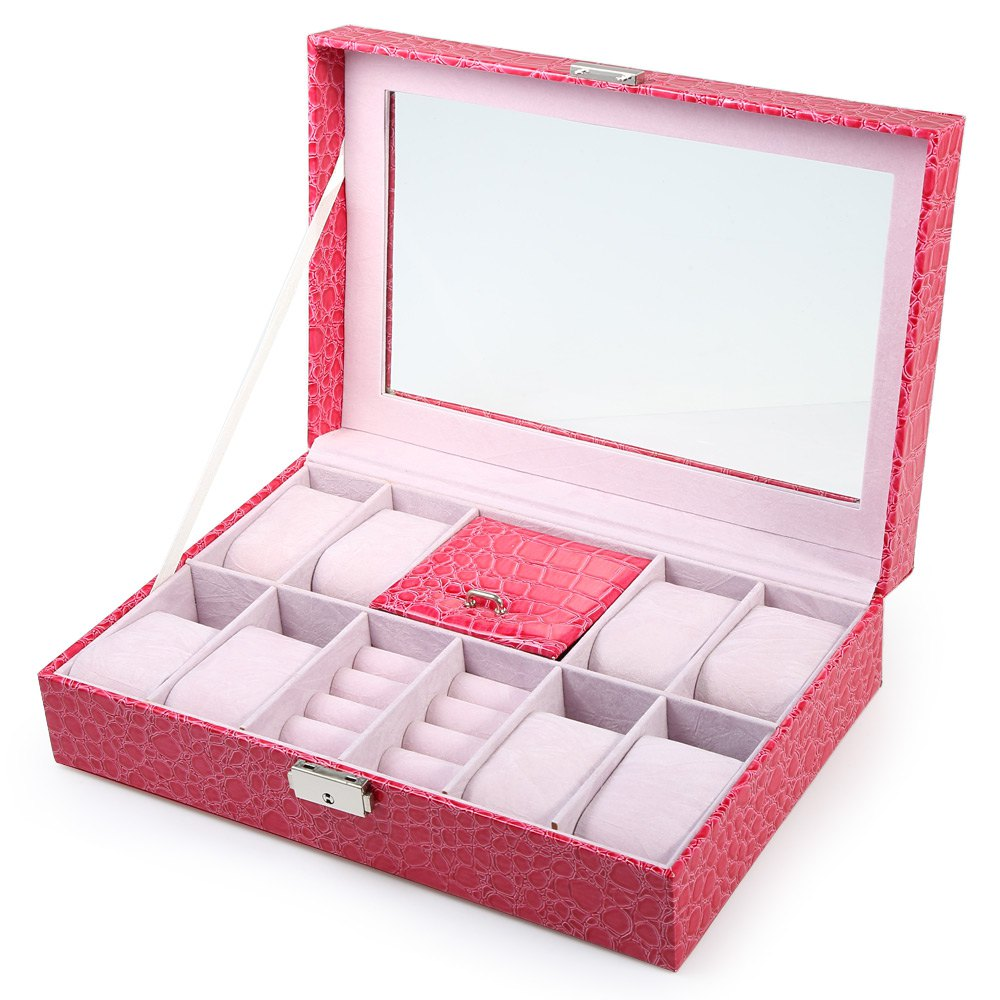 Luxury Watch Box Case 8 Grids with 3 Mixed Grids Watches Box Case PVC Leather Jewelry Storage Display Box Caja Reloj Relogio Box babyliss e652e