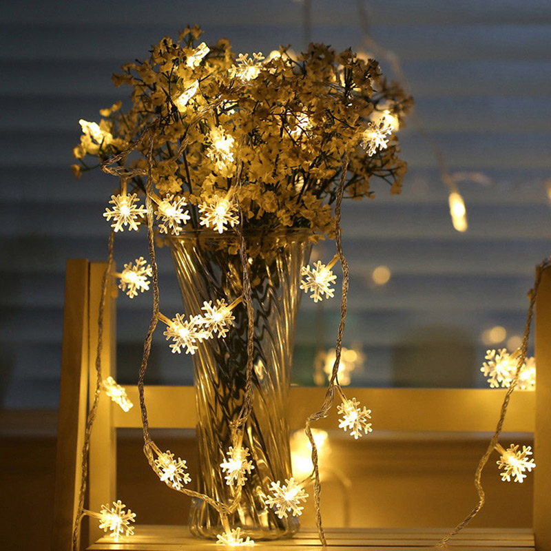 20LED 3M String Fairy Lights Battery Power Snowflake Christmas Tree Party Home Indoor Decoration JA55