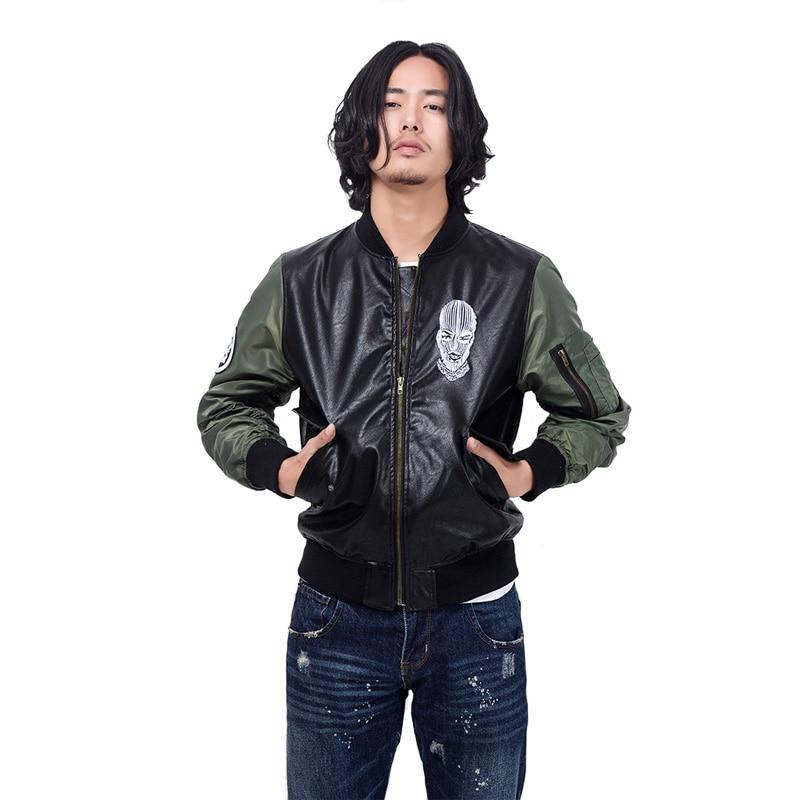 Street brand men's PU leather bad mood Print motorcycle jackets West Coast MA1 bomber pilots jacket young men baseball Outerwear