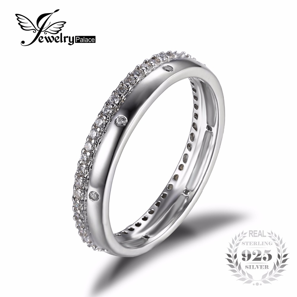 jewelrypalace real 925 sterling silver cubic zirconia anniversary wedding contour guard band ring for women jewelry - Wedding Ring Guard
