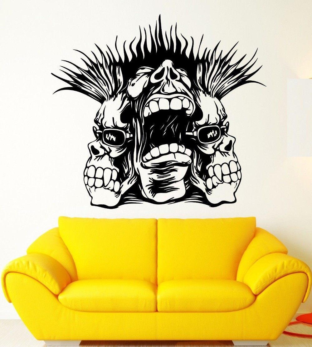 New Fashion Vinyl Wall Decal wall sticker home decor Skull Punk Scream Cool Teen