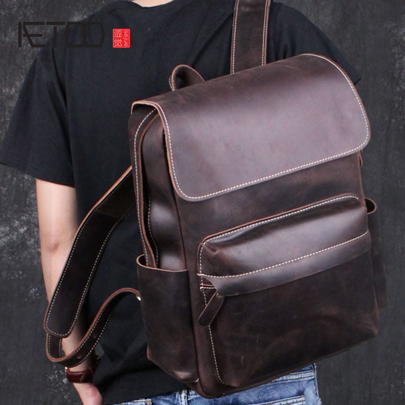 AETOO Crazy horse skin shoulder bag male leather retro leisure first layer cowhide bag travel bag backpack computer bag tide aetoo the new retro mad horse skin backpack fashion shoulder shoulder leather package tide package