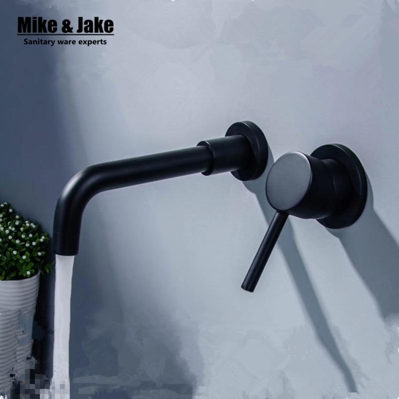Black wall mounted basin faucet bathroom basin mixer black