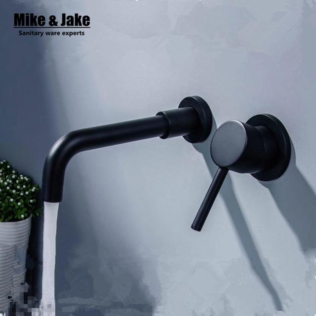 Black Wall Mounted Basin Faucet Bathroom Basin Mixer Black Oil Brushed Basin  Faucet Sink Mixer Tap