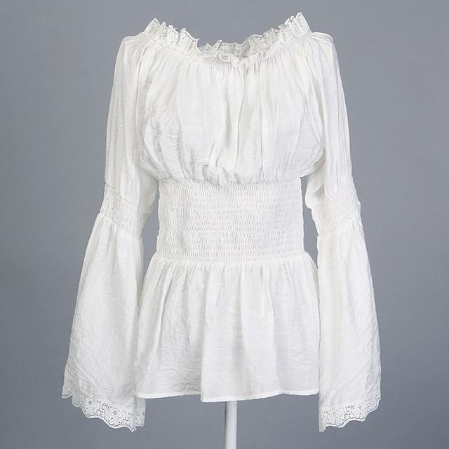 Tops blanco encaje fuera del hombro blusa long Bell mangas túnica ...