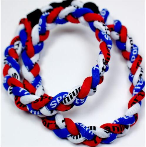 Objective 2016 New Hot Selling 3 Rope Twisted Titanium Sport Necklace (red Blue & White) Great For Any Baseball/softball/soccer/lacrosse Buy One Get One Free