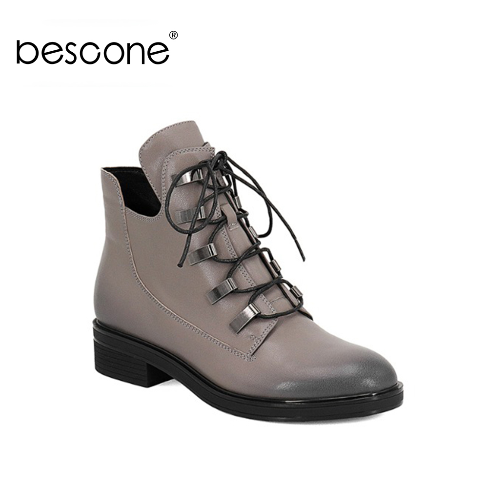 BESCONE أزياء النساء مارتن الأحذية عالية الجودة جلد طبيعي اليدوية أحذية جديد التدرج اللون مربع كعب السيدات أحذية BA29-في أحذية الكاحل من أحذية على  مجموعة 1