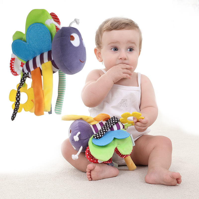 Newborn Infant Baby Soft Dolls Cute Music Bee Pendant Baby Rattle Baby Plush Bed Hanging Toys Children Rattles Plush Toys