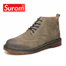 SUROM Genuine Leather Men's Ankle Boots Luxury Brand Lace up Classic Round Toe Oxfords For Male Autumn Winter Shoes size 38-46