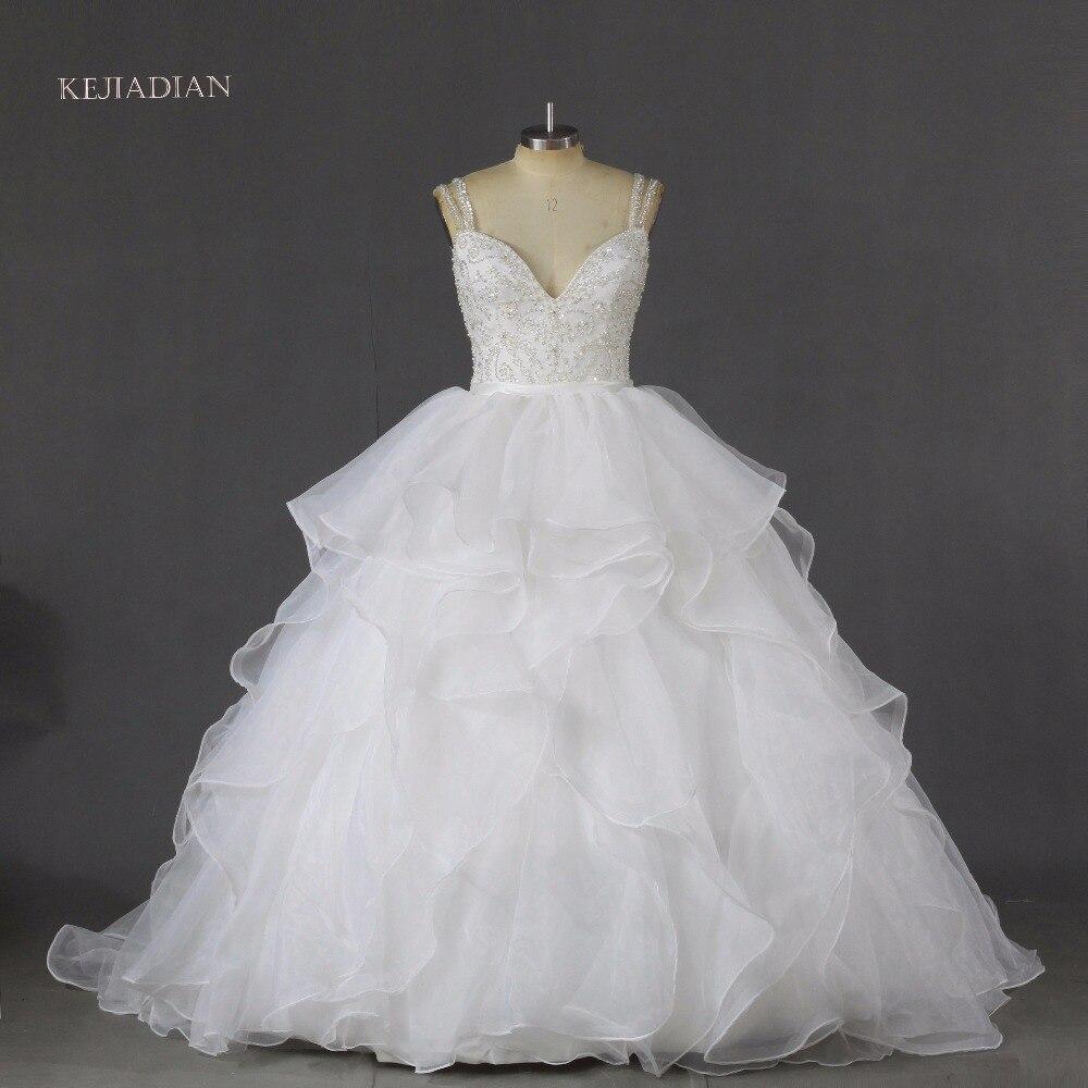 Luxury Tube Top Beading Crystals Bride Wedding Dress 2017