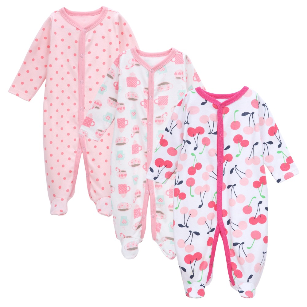 3-Pack Newborn Baby Footed Romper 100% Cotton Cartoon Printed Onesie Sleep & Play Clothes Baby Rompers Baby Girls Pajamas 0-12M mother nest baby romper 100% cotton long sleeves baby gilrs pajamas cartoon printed newborn baby boys clothes infant jumpsuit