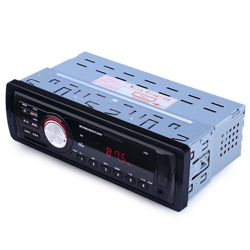 Prix pour 1 Din Auto Audio Stéréo Lecteur MP3 de Soutien FM/SD/AUX/USB Interface pour Universel De Voiture Dans-Dash Radio Récepteur D'entrée Sans À Distance