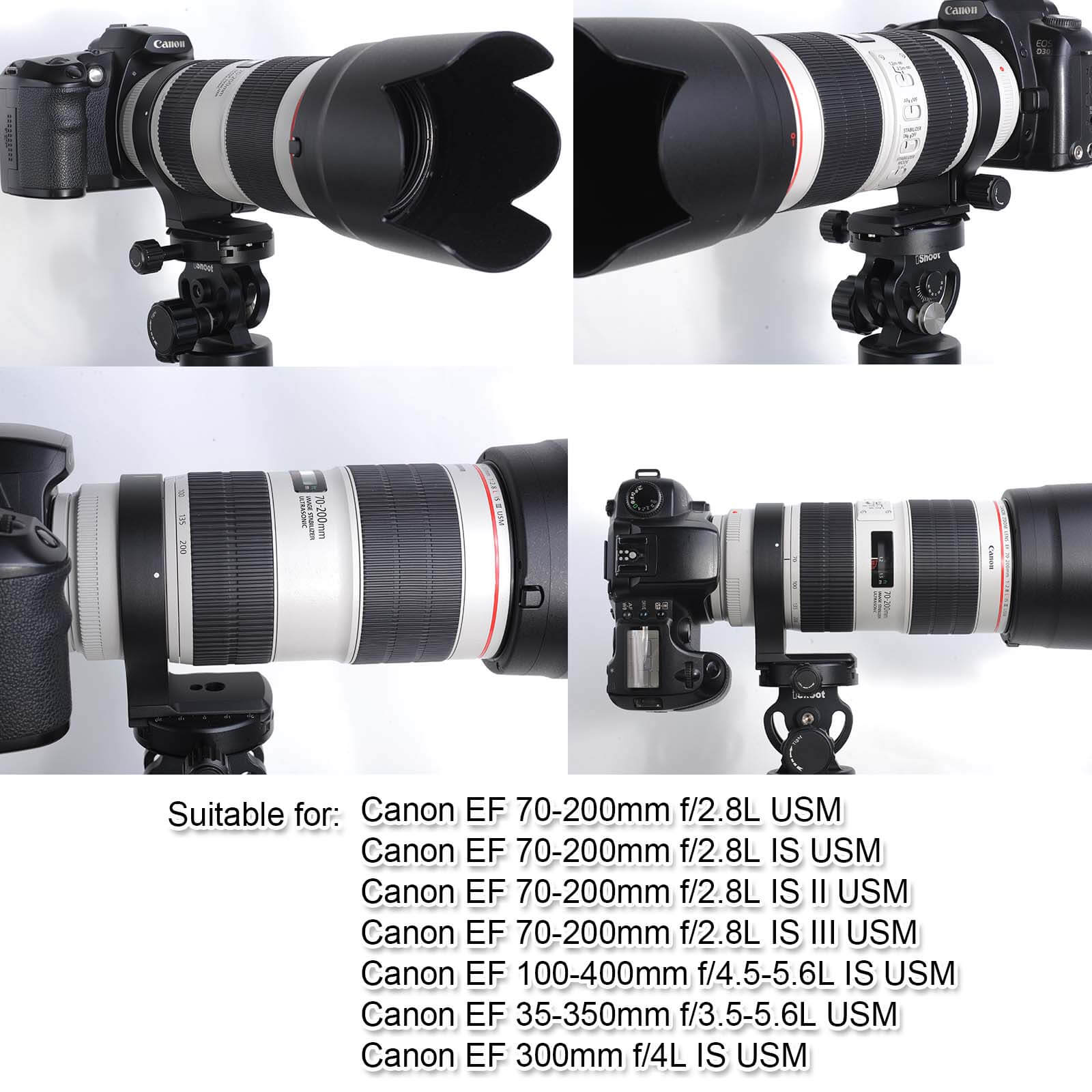 Tripod Mount Ring iShoot 78mm Lens Collar Support for Canon EF 70-200mm f//2.8L is//II//III USM Built-in Arca-Swiss Type Quick Release Plate 100-400mm f//4.5-5.6L is USM and 300mm f//4L is USM Lens