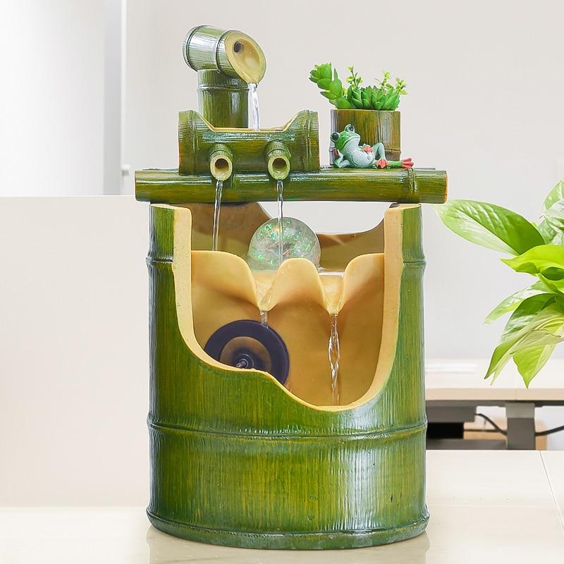 110/220V Resin Bamboo Feng Shui Water Fountain Handmade Brief Crafts Office Desktop Modern Decoration Sent Friend Humidification