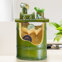110/220V Resin Bamboo Feng Shui Water Fountain Handmade Brief Crafts Office Desktop Modern Decoration Sent Friend Humidification