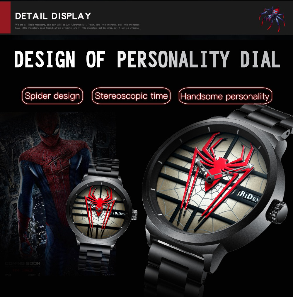 Red Spider Stainless Steel Wristwatch - Waterproof 2