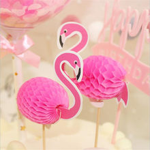 Omilut 6pcs Hawaiian Flamingo Pineapple Cupcake Toppers Cake Picks Wedding Birthday Party Decorations Summer Party Supplies(China)